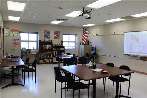 Inside new St. Francis classroom.