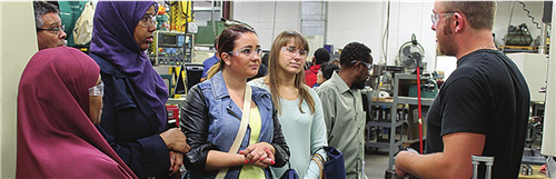 students in machine shop