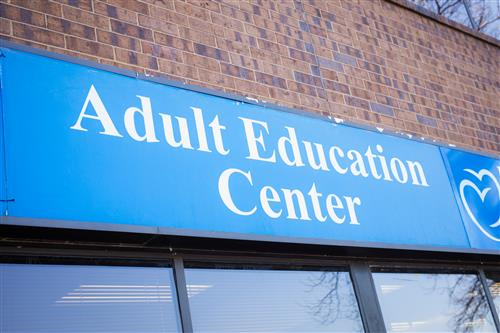 Outside sign of Adult Education Cetner